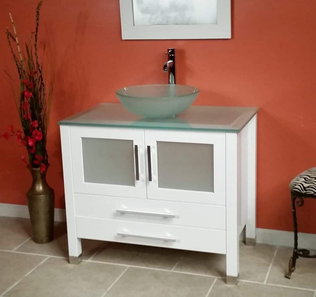 Wood & Glass Vessel Sink Bathroom Vanity Set w Chrome Faucet