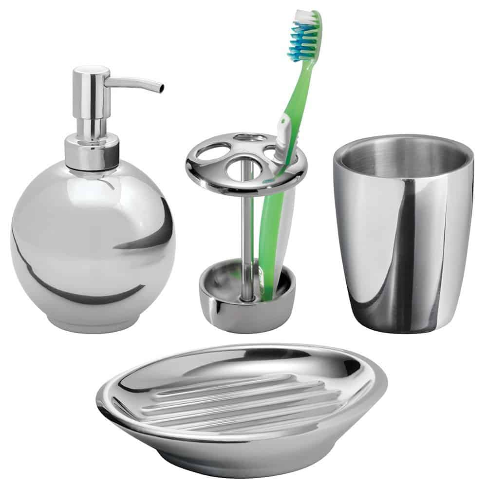 mDesign Bath Accessories Set- 4 Piece, Polished Stainless Steel