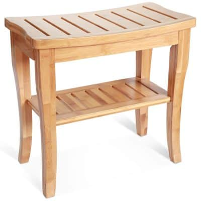 Bamboo Shower Seat Bench with Storage Shelf