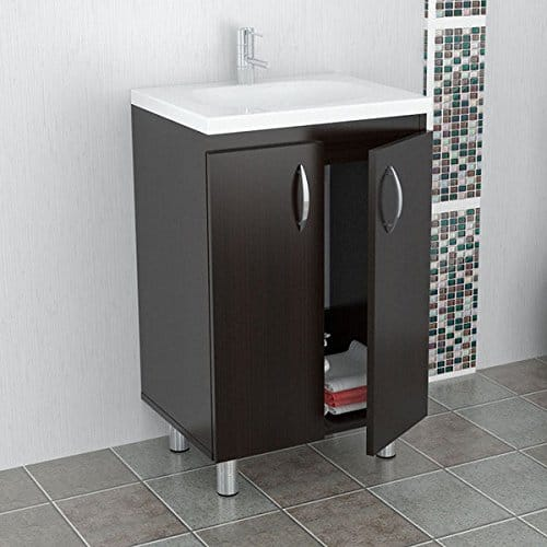Click to open expanded view Inval Modern Single Sink Bathroom Brown Floor Cabinet