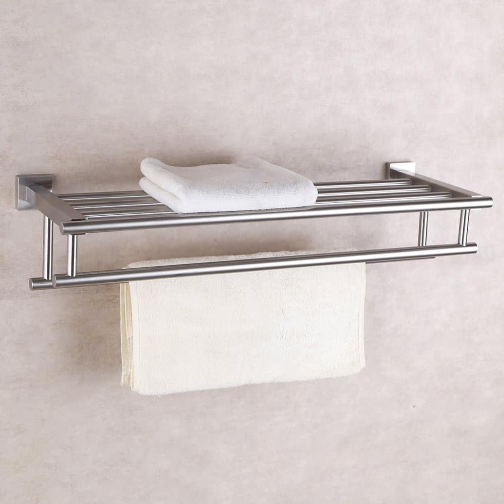 KES Stainless Steel Bath Towel Rack Bathroom Shelf with Double Towel Bar 60 CM Storage Organizer Contemporary Hotel Square Style Wall Mount, Brushed Finish, A2112-2