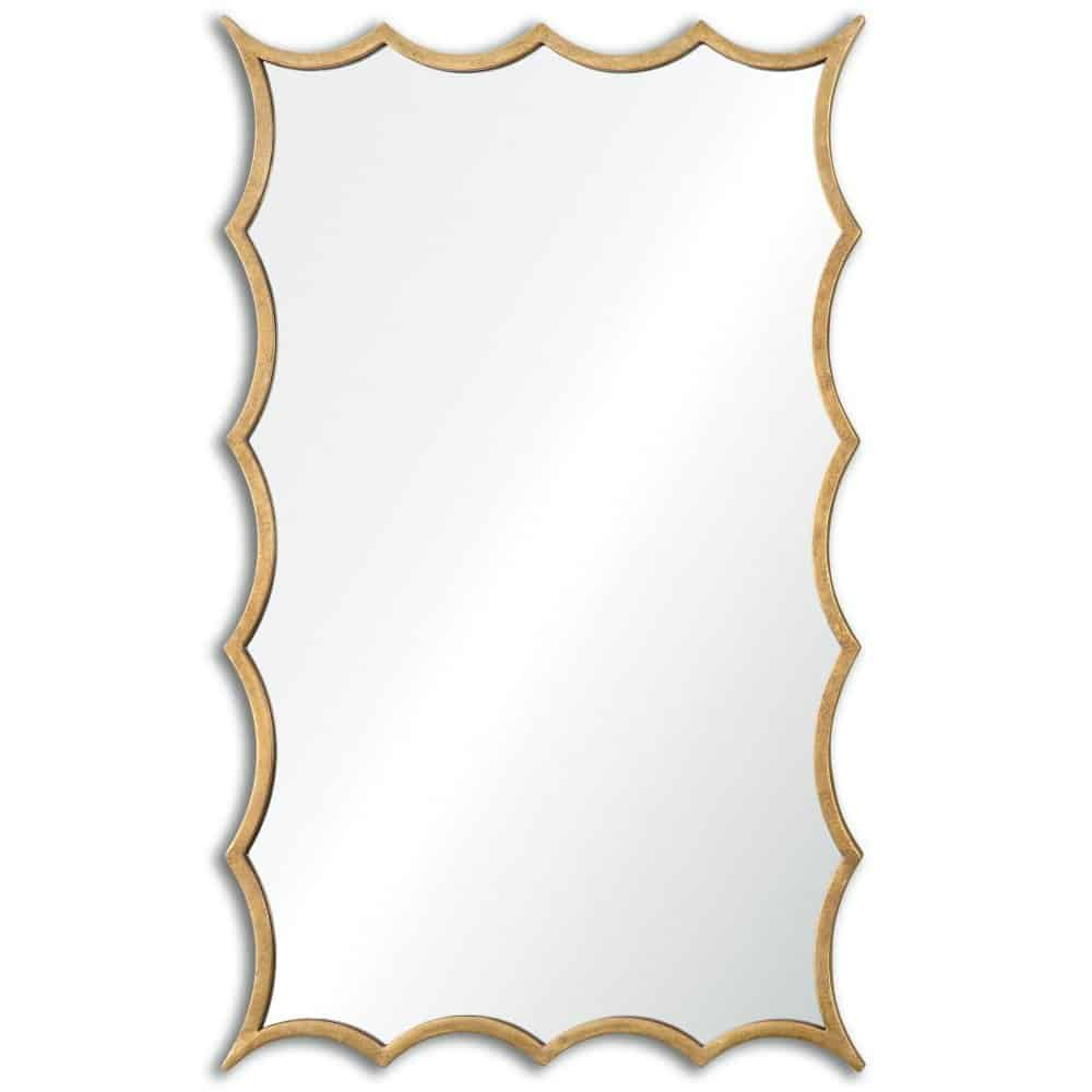 Darius Wavy Scalloped Bathroom Wall Mirror with Hand Forged Antiqued Gold Leaf Frame