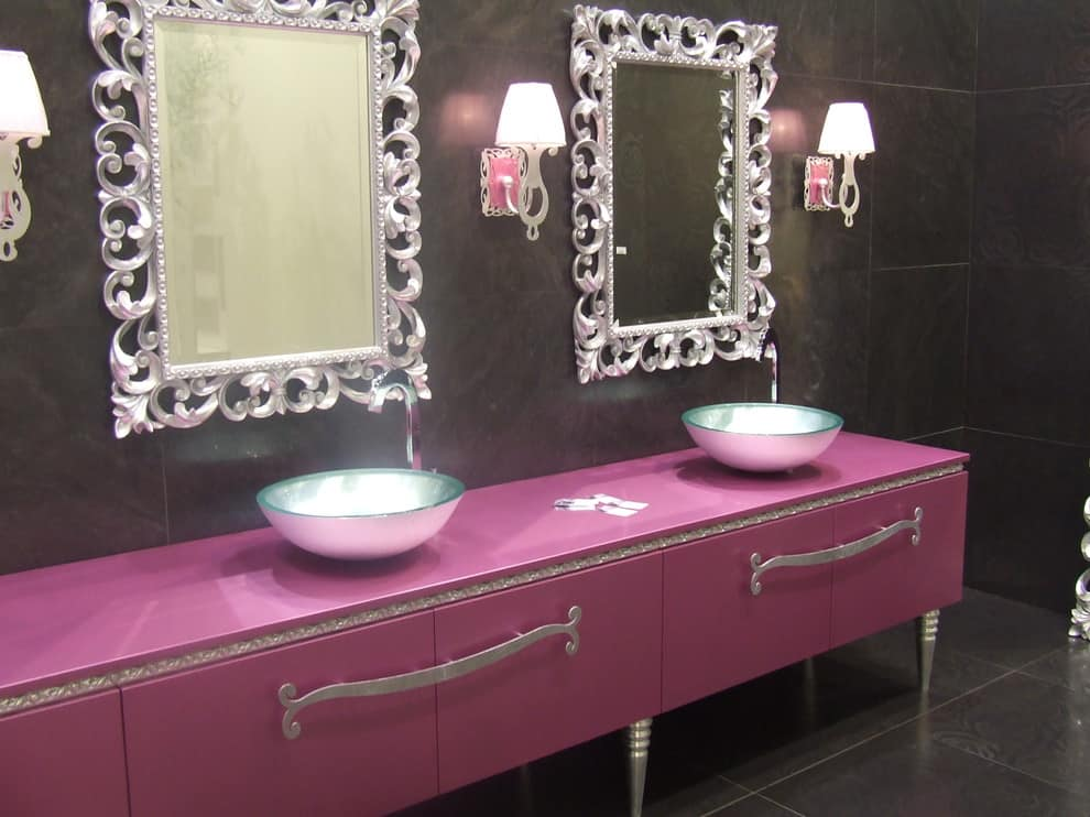 Girls Two vanity mirrors and two sinks