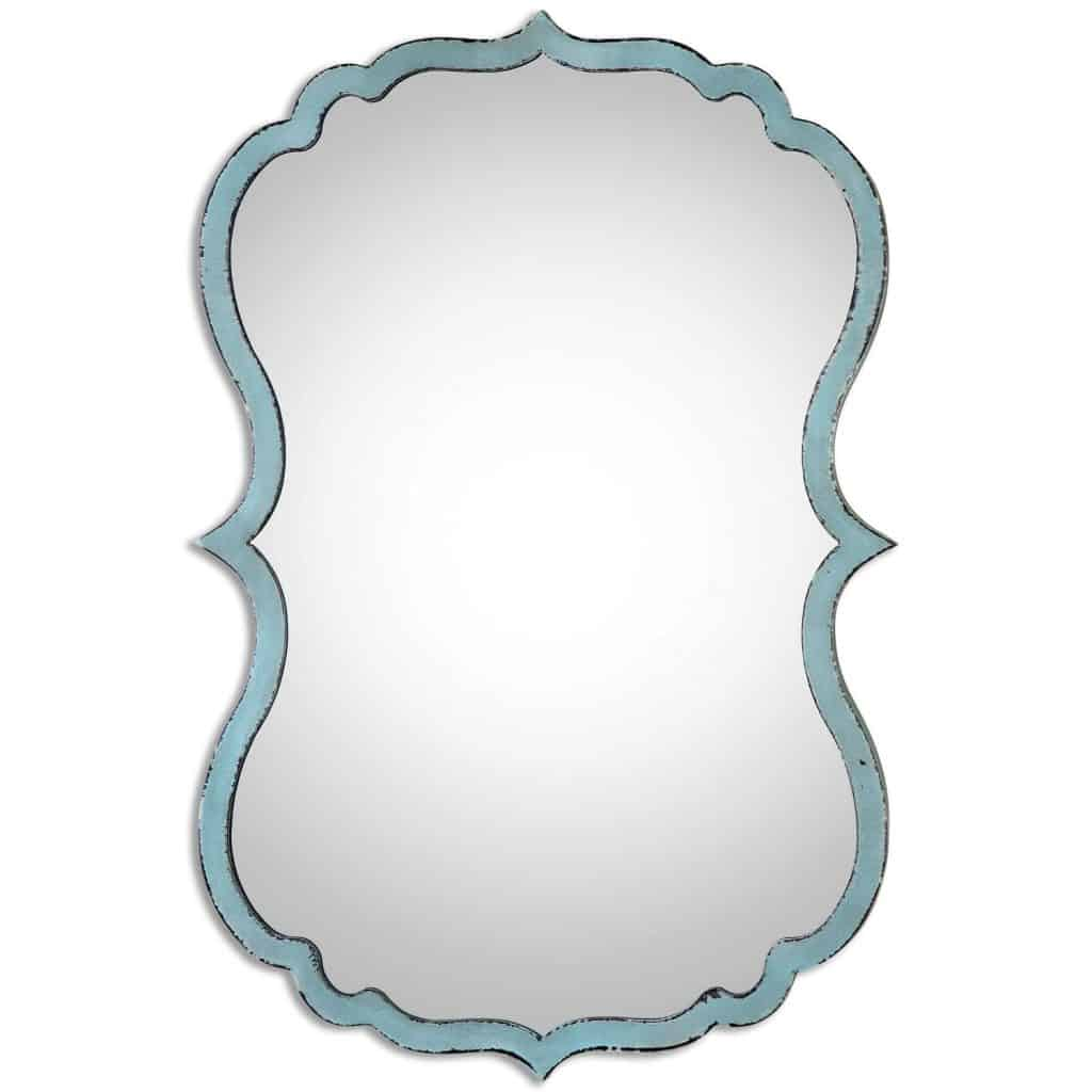 Unusual Curved Shaped Light Blue Wall Bathroom Mirror