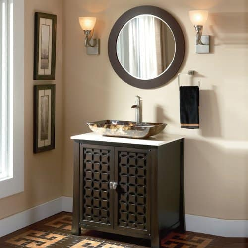 30 Giovanni Vessel Sink Vanity Cabinet Model HF339A with Matching Mirror