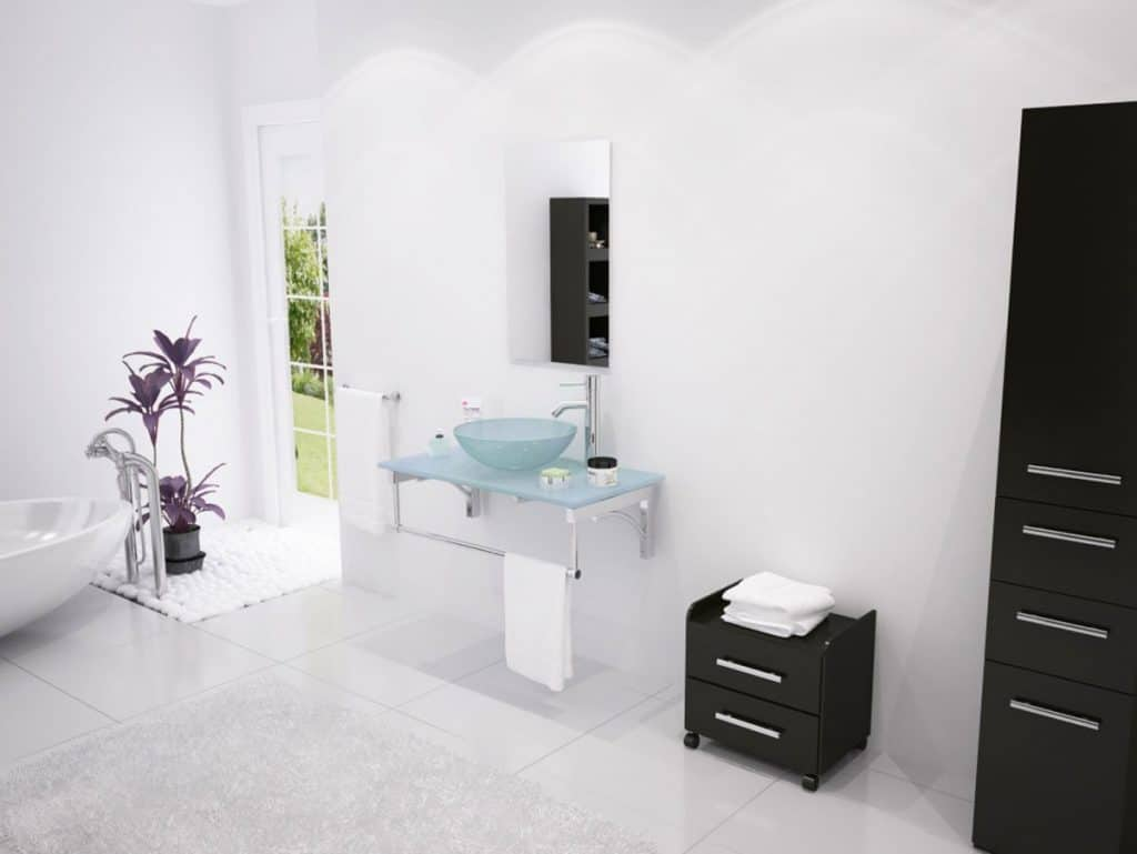 31.5 Aries Modern Wall-Mounted Vessel Sink Vanity With Glass Top
