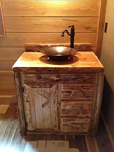 """36"""" Inch Rustic Northern White Cedar Bathroom Vanity"""