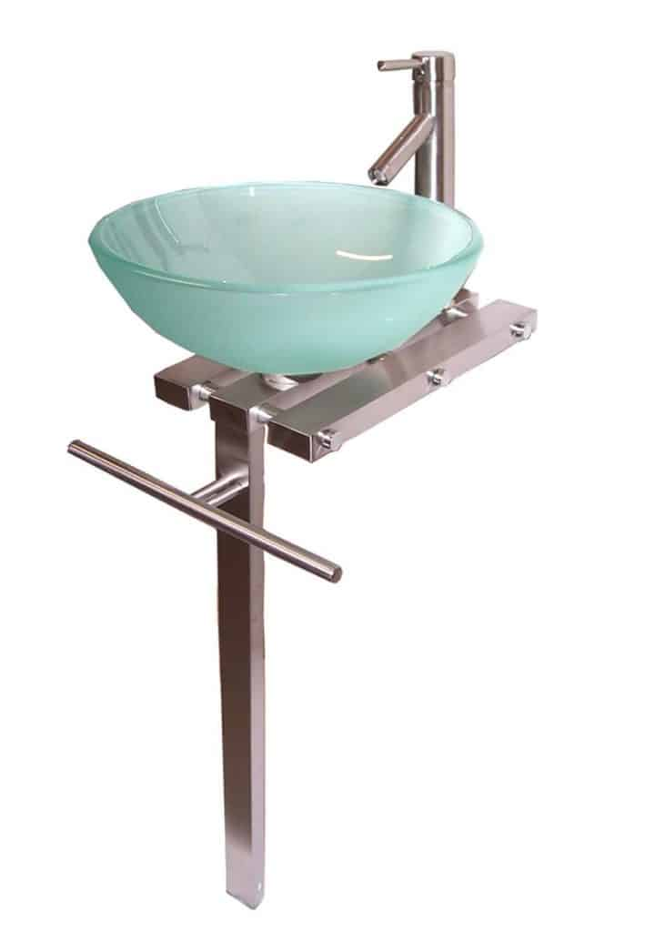 Contemporary Bathroom Vanities Pedestal Glass Bowl Vessel Sink Combo With Faucet