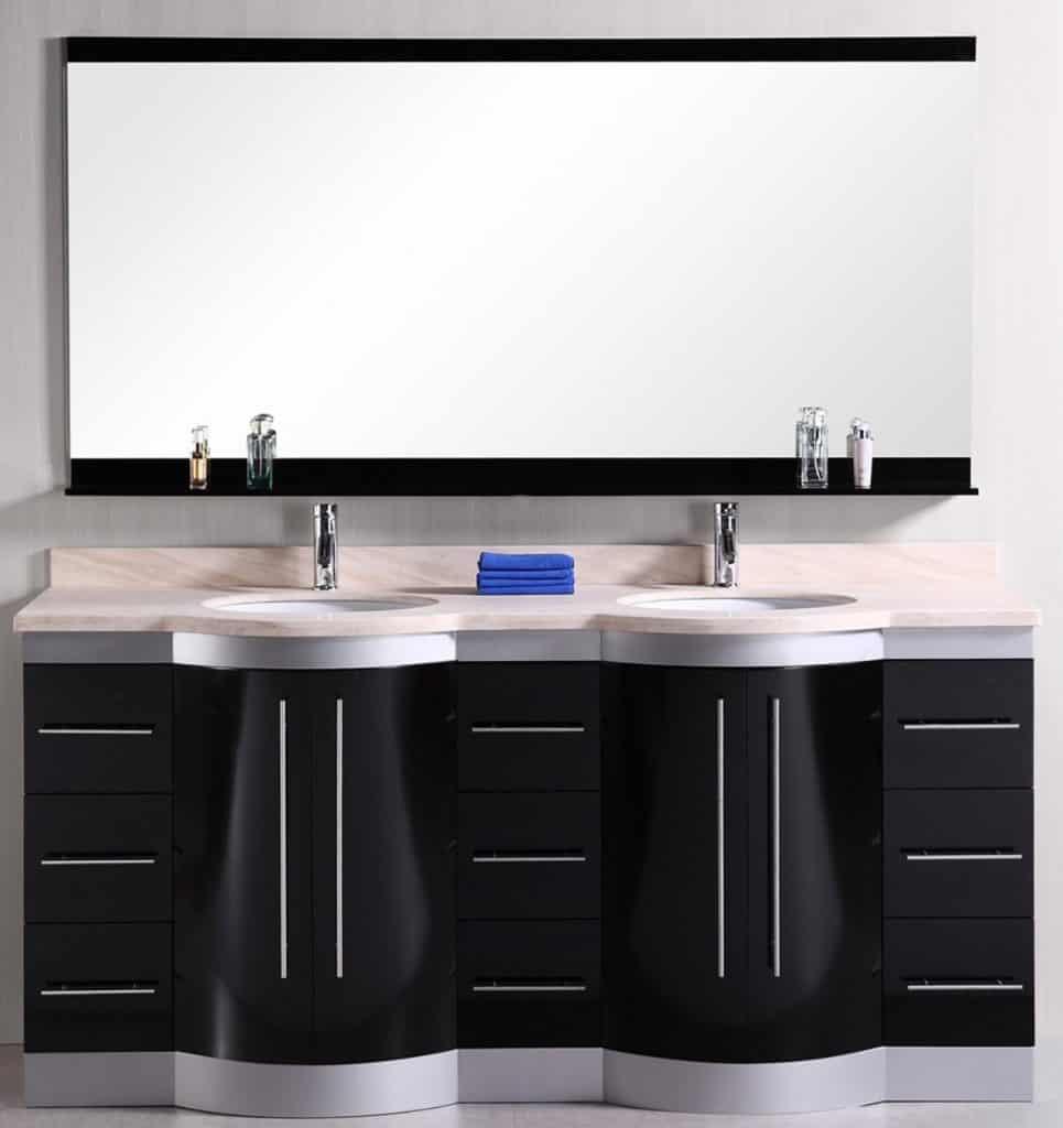 Design Element Jade Double Under-Mount Sink Vanity Set with Travertine Stone Countertop, 72-Inch