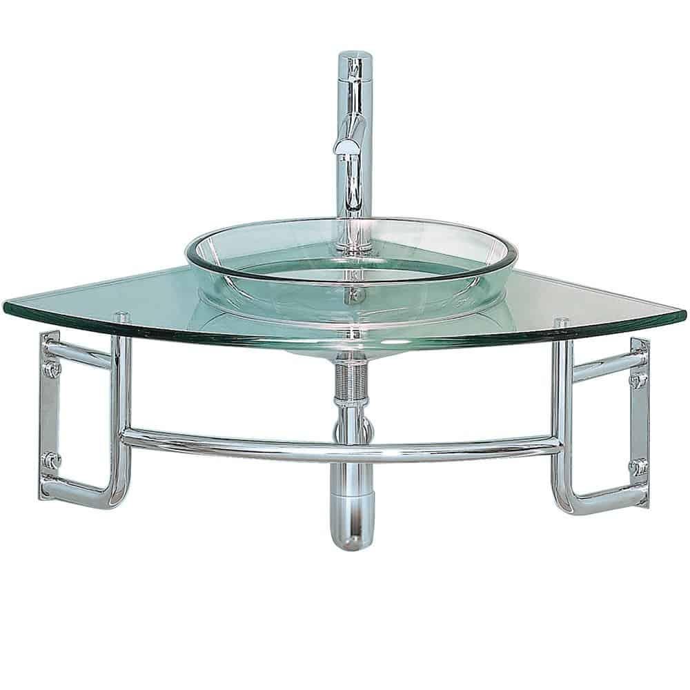 Fresca Bath FVN1040 Ordinato Corner Mount Glass Vanity