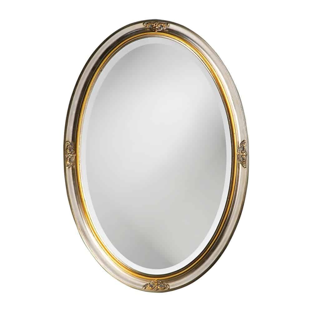 Howard Elliott 2153 Carlton Oval Mirror, 22-Inch by 32-Inch, Bright Silver Leaf