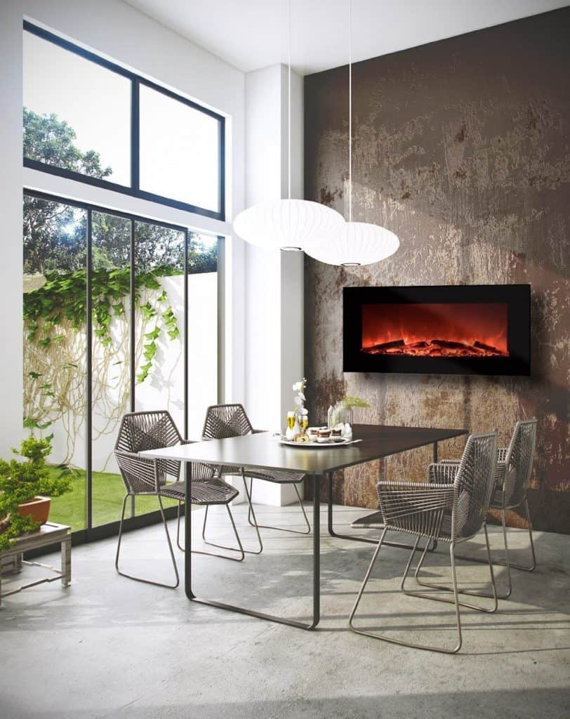 Garibaldi Heating 50 Electric Wall Mounted Fireplace with Remote, Realistic Log Flame Effect, Multiple Heat Settings
