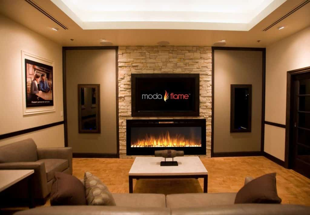 Moda Flame 50 Cynergy Pebbles Stone Built-in Wall Mounted Electric Fireplace