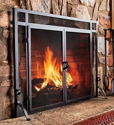 44W x 33H Solid Steel Flat Guard Fire Screen With Doors, in Black