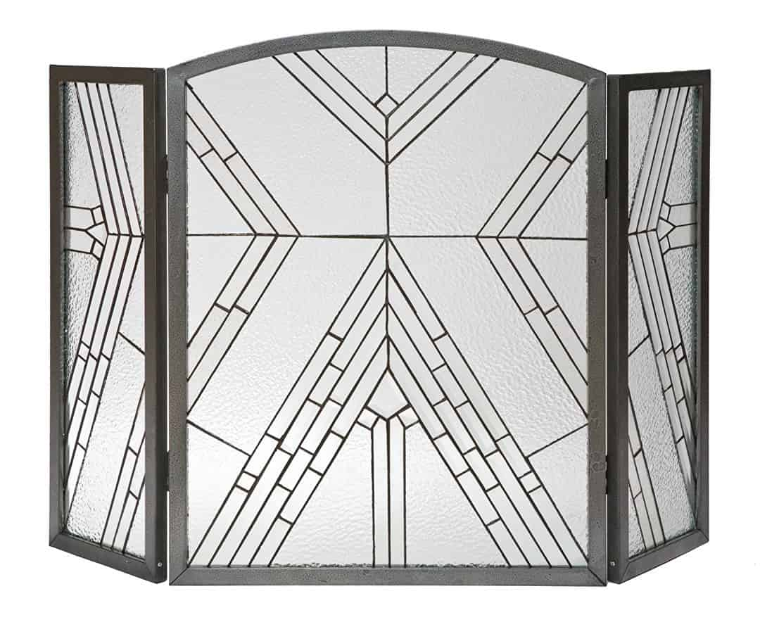 Panacea Products 15190 Wright Glass 3-Panel Fireplace Screen