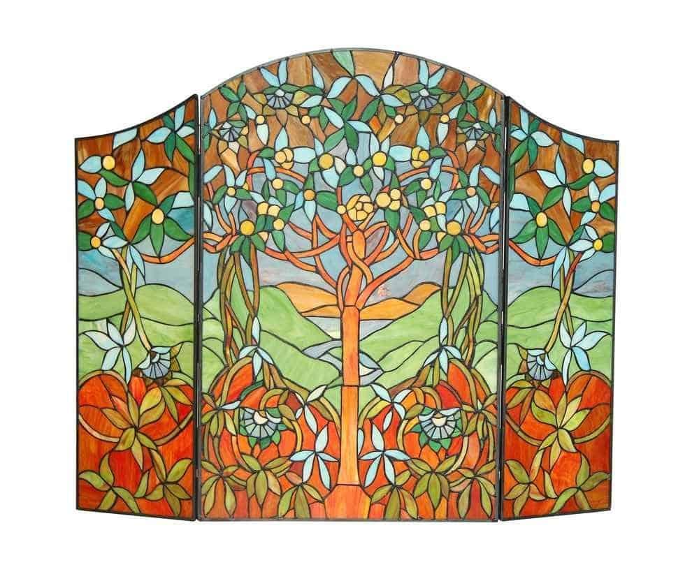EDEN Tiffany-style 3pcs Folding Fireplace Screen 44x35