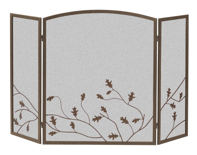 Panacea Products 15914 3-Panel Oak Leaf Fireplace Screen