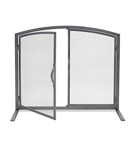 Shadow Iron Door Fireplace Screen in Natural Iron Finish