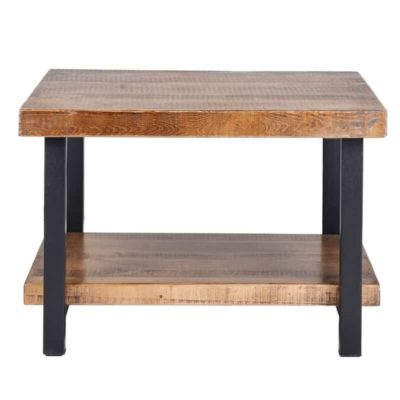 Rustic square wooden table, metal legs and wooden shelf at the bottom