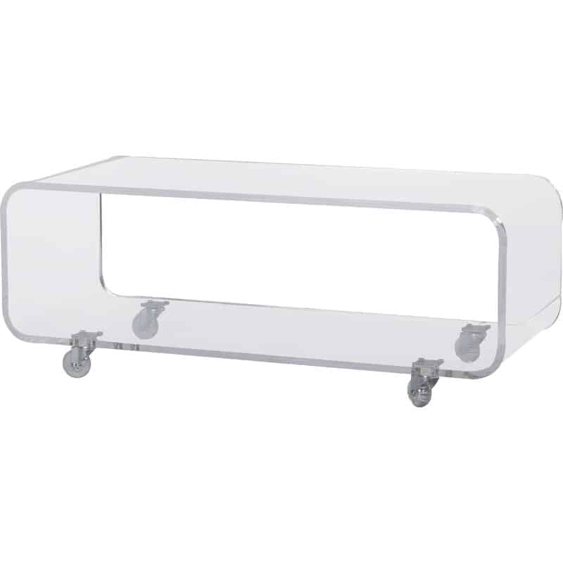 Rectengular acrylic table on wheels with rounded corners, shelf and the bottom