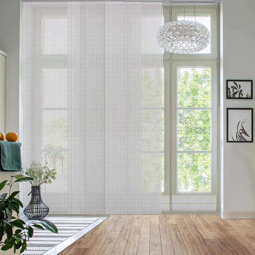 natural woven fabric on the floor to ceiling sliding panel