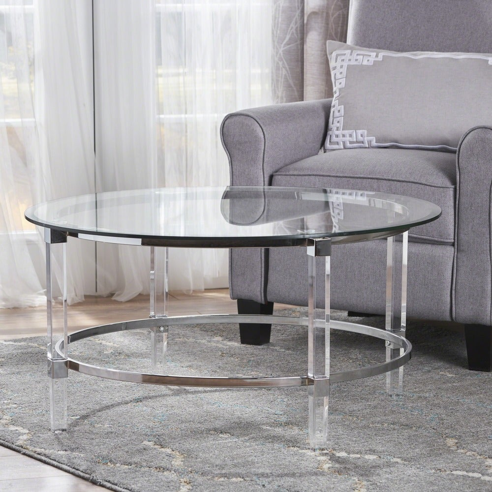 Round table, tempered glass top, acrylic legs, stainless steel brace at the bottom
