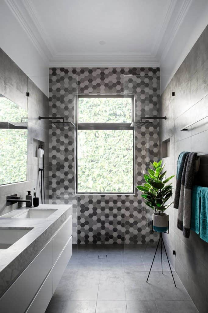 shower tiles ideas with Monochrome Polygonal Tile