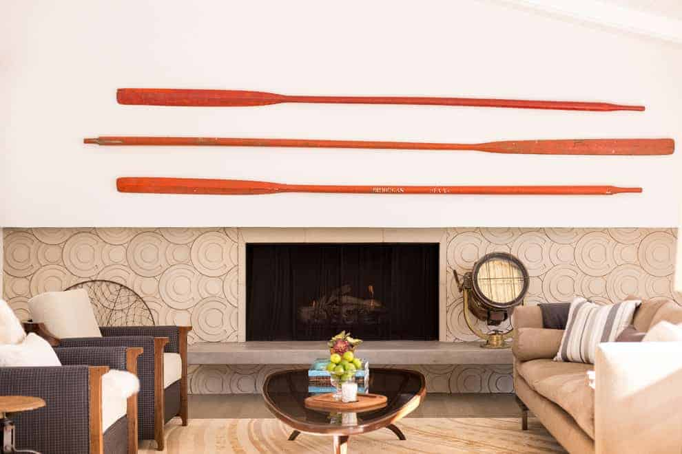 raised mod circles add subtle dimension to this fireplace.