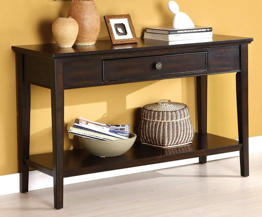 Dark Cherry Sofa Table with Central Drawer