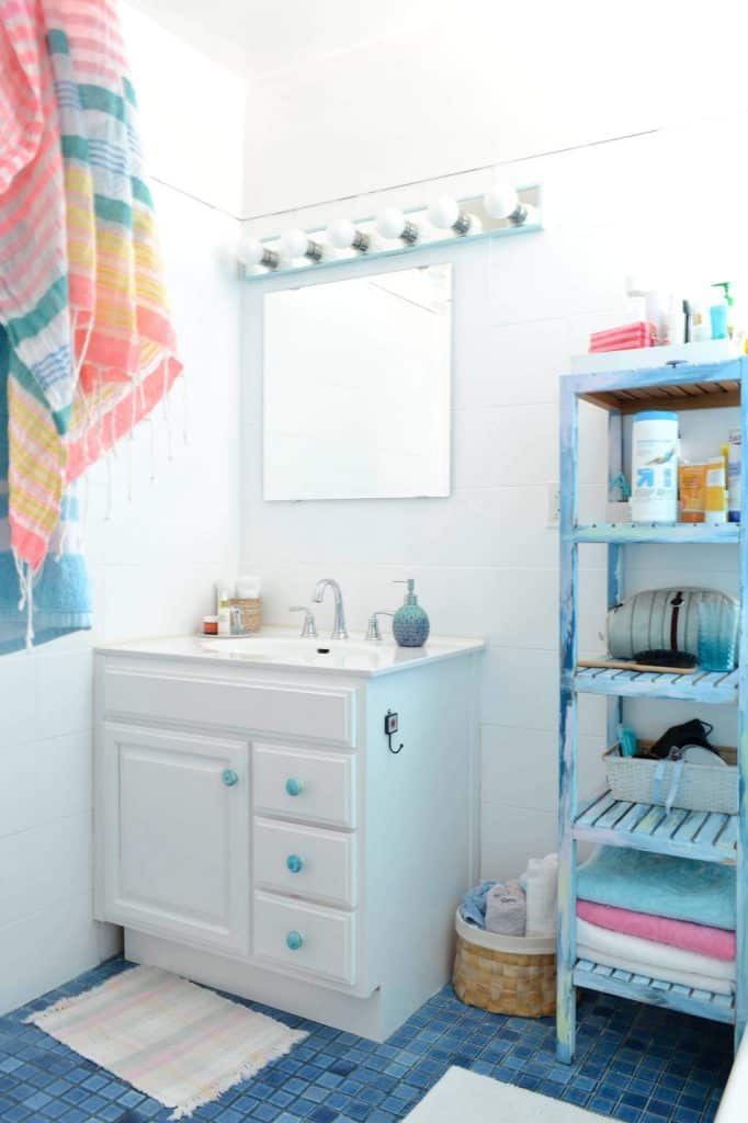 A Colorful Shelf Holds Towels for Use