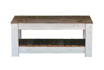 Wooden rectengular table, white wooden legs, shelf at the bottom
