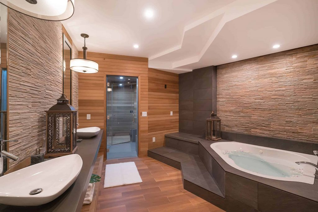 freestanding bathtub design in Providence with white walls