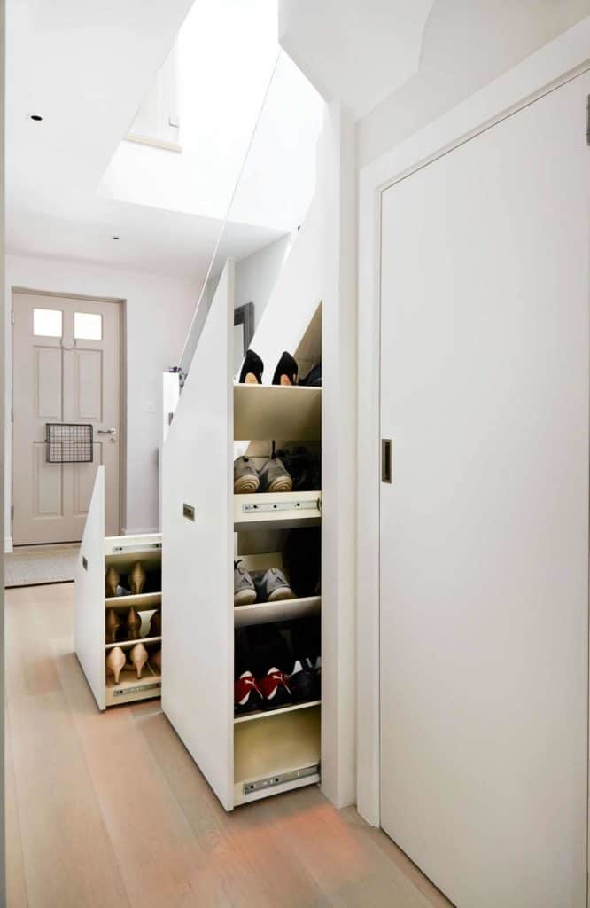 Slide-out Shoe Rack Under the Stairs