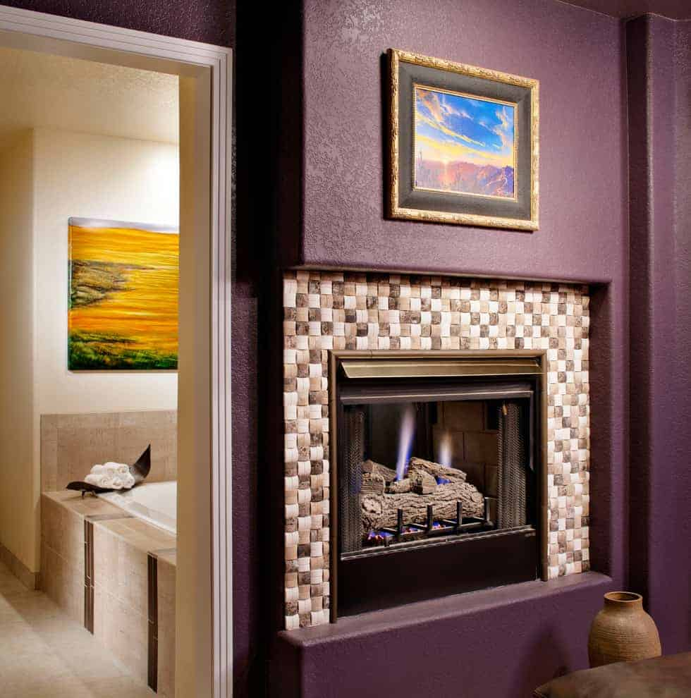 tiled fireplace ideas - square tiles in muted tones