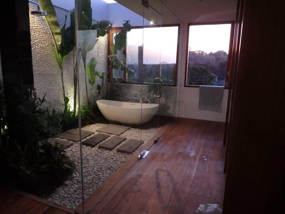 zen master brown floor bathroom design in Hawaii