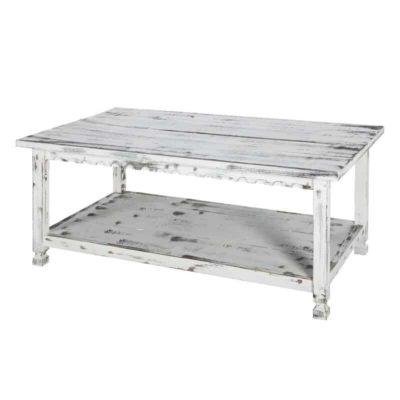 White wooden rustic rectengular table, shelf at the bottom