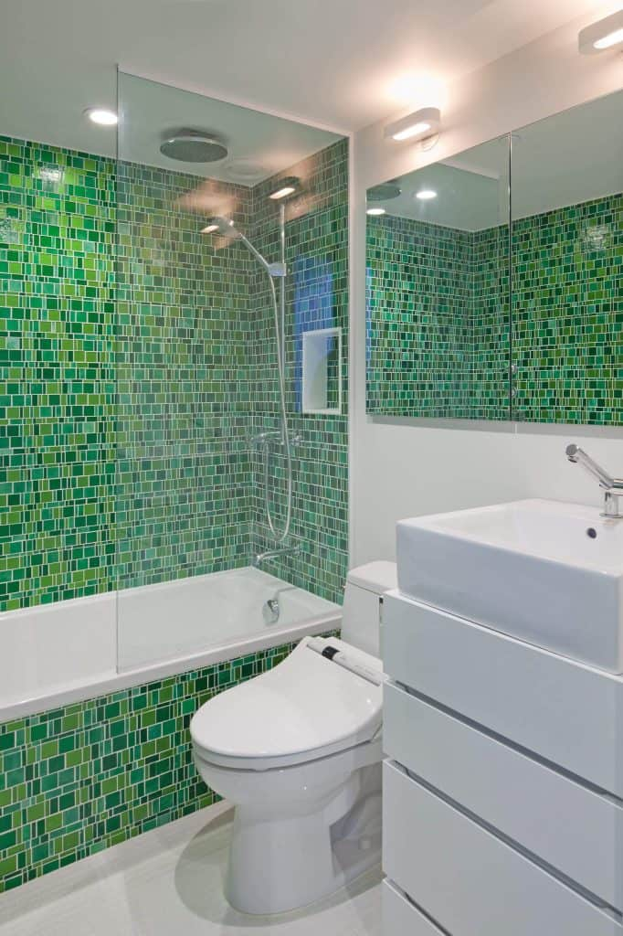 70's Green Multi-Width shower tiles