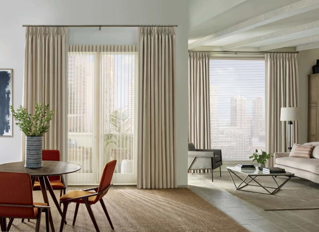 vertical and horizontal shades give the room a more interesting look