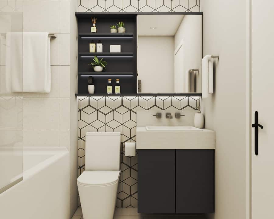 Beige mosaic tile walls, beige tile floor, dark grey cabinet