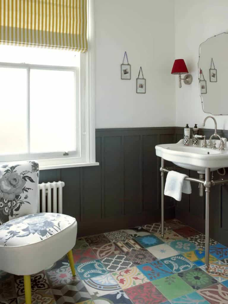 gray wainscoting