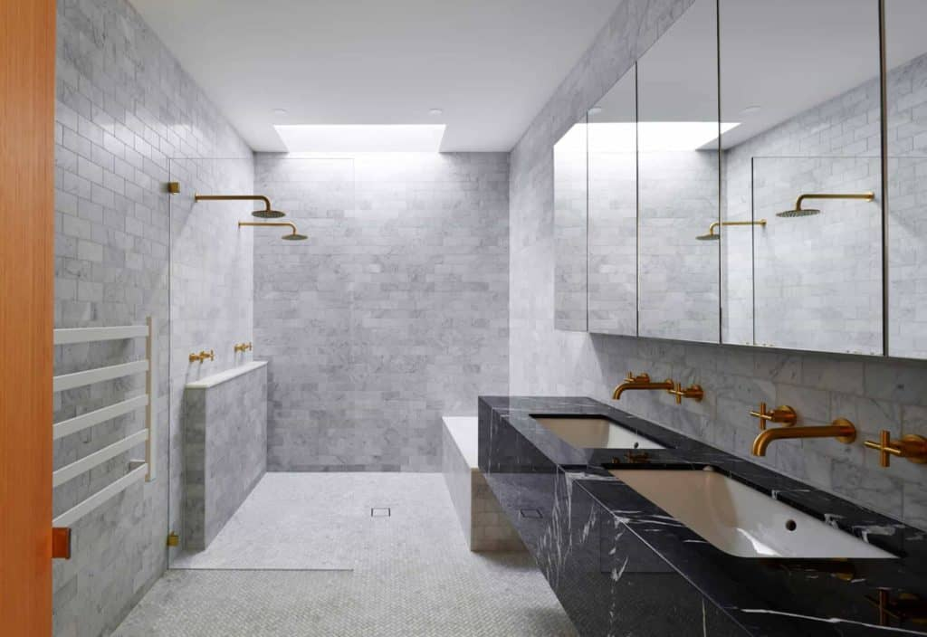Chic glass Block walk in shower tile designs