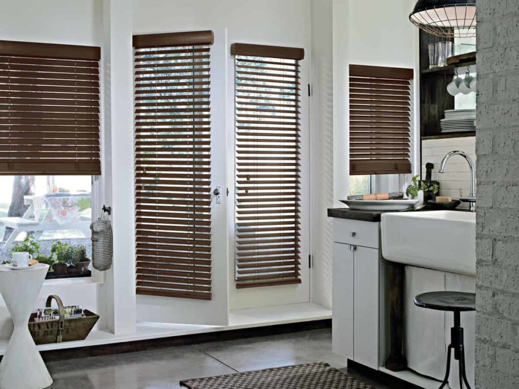 Dark wood contrasts with the white French doors