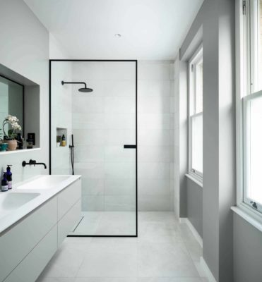 Minimalist Single Panel Doorless Shower