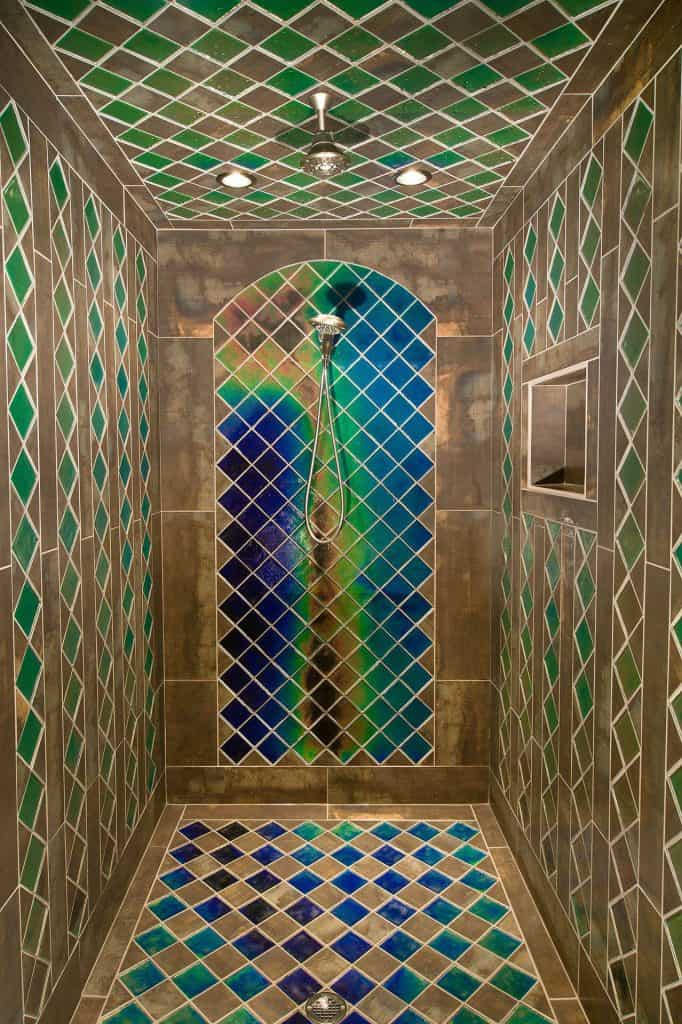 Peacock Shades tile shower