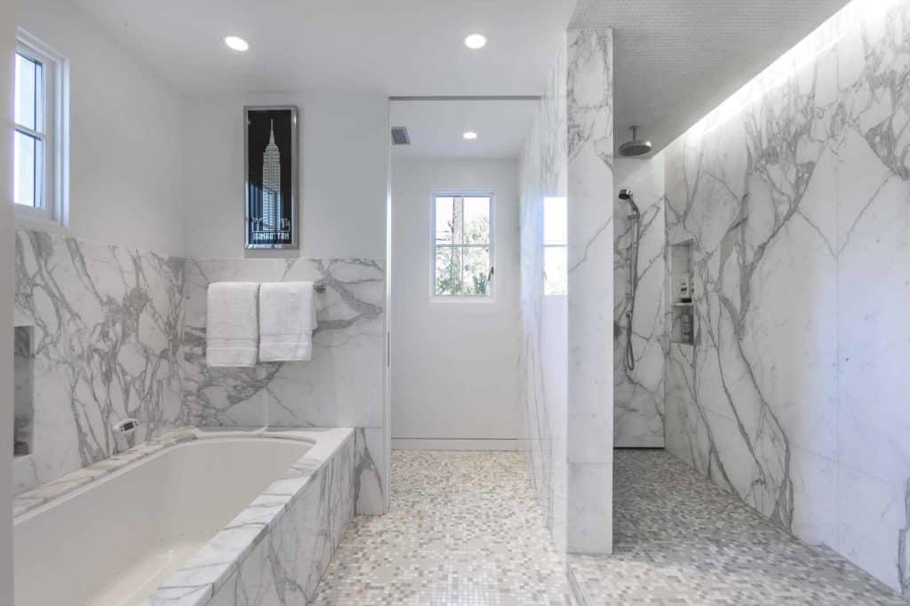 Marble on Marble no door shower designs
