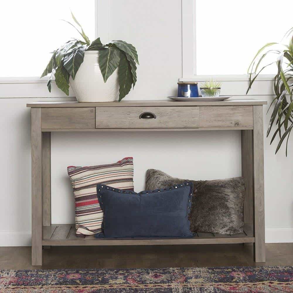 Gray Wash Country Style Console Table