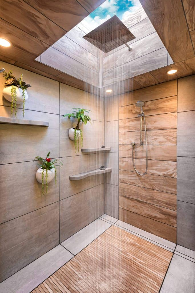 Wooded Tile Shower