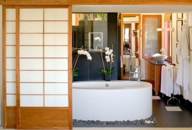 tile porcelain tile and beige floor corner shower photo in Seattle