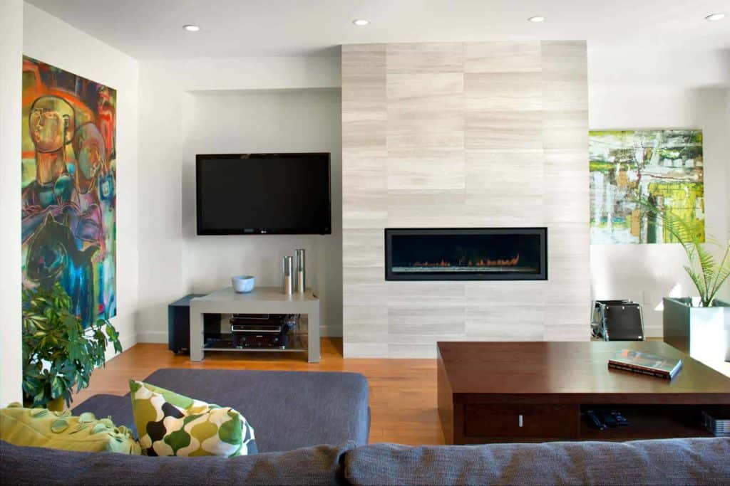 tiled fireplace ideas - neutral colors