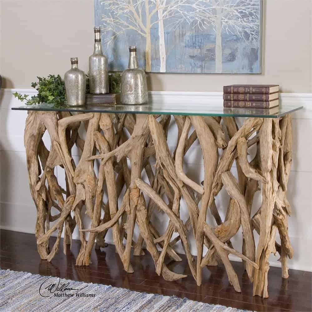 Reclaimed Teak Wood Glass Table